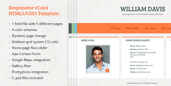 William Davis vCard - Responsive HTML5 Template - Virtual Business Card Personal
