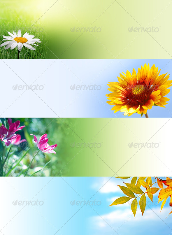 Web Banners with Flowers and Leaf