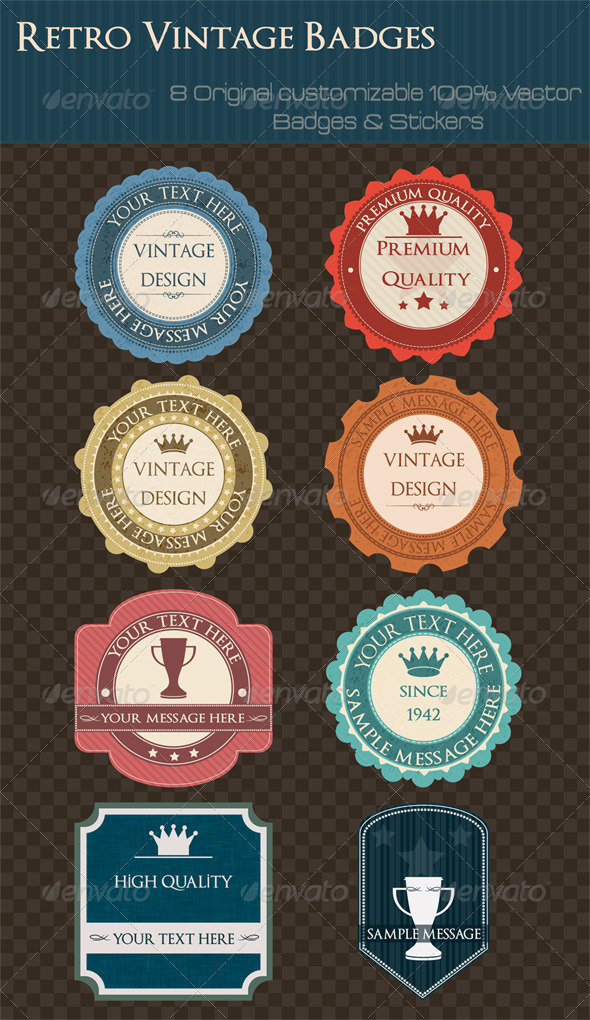 GraphicRiver Vintage Stickers and Labels 3422733