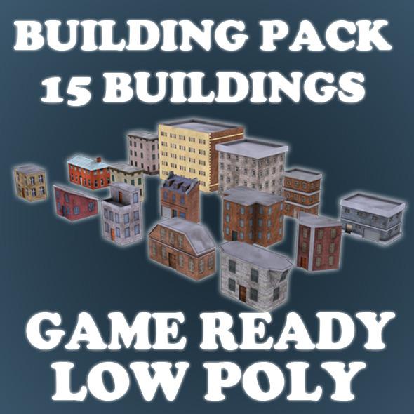 3DOcean Low Poly Game Buildings Pack 01 3448988