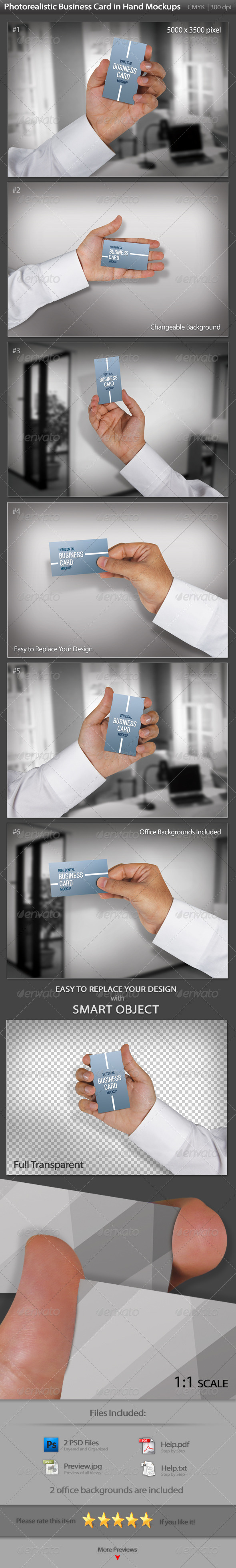 GraphicRiver Business Card in a Businessman Hand Mockups 3413890