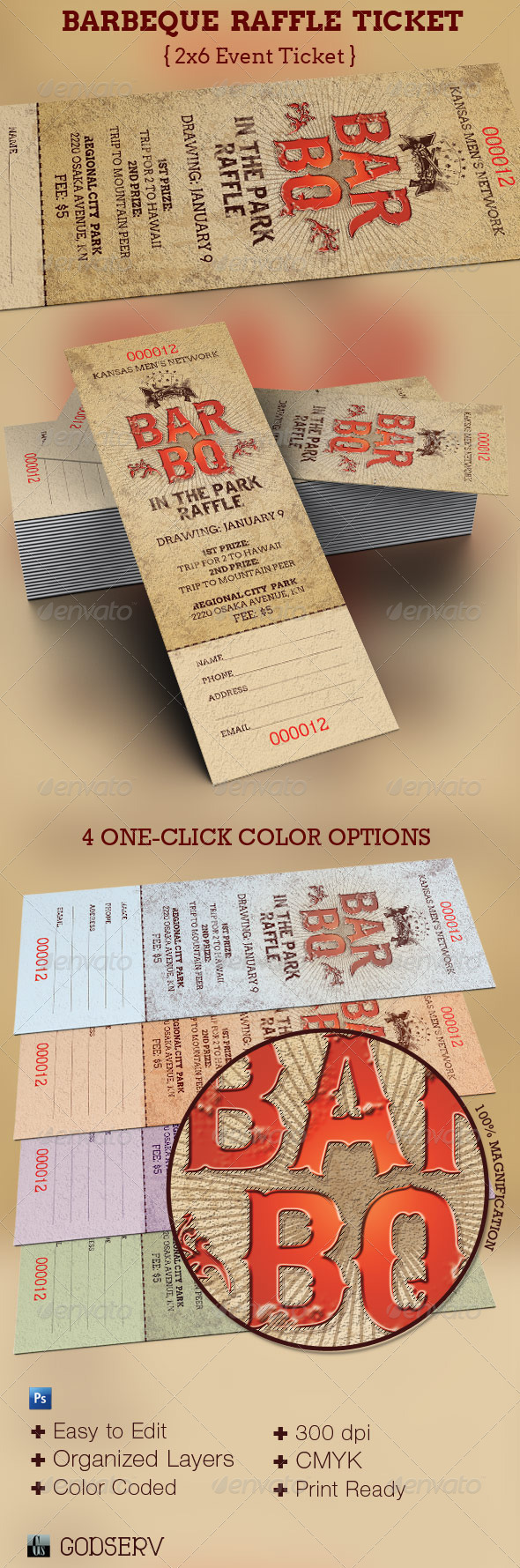 GraphicRiver BarBeQue Raffle Ticket Template 3450409