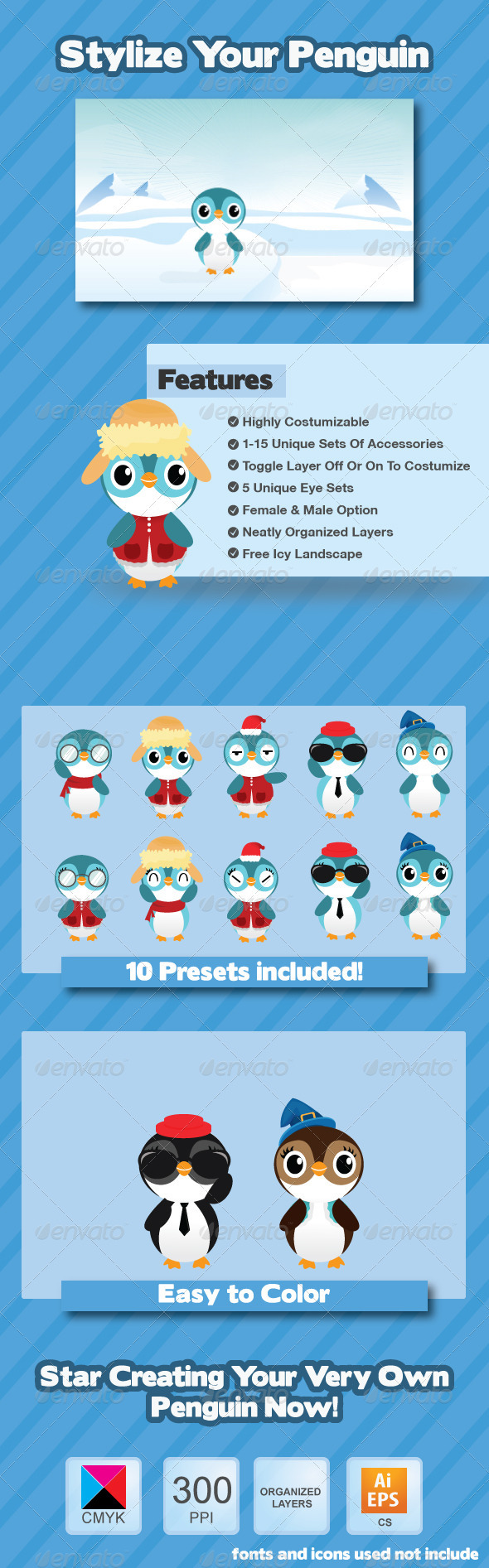 GraphicRiver Penguin Creation Kit 3420342