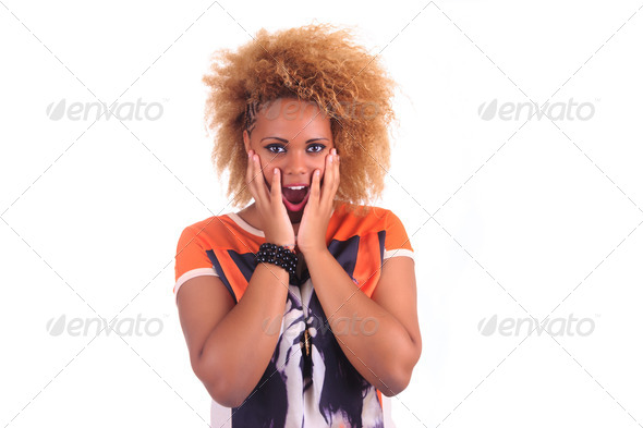 beautiful African woman smiling with long hair afro curly - Stock Photo - Images