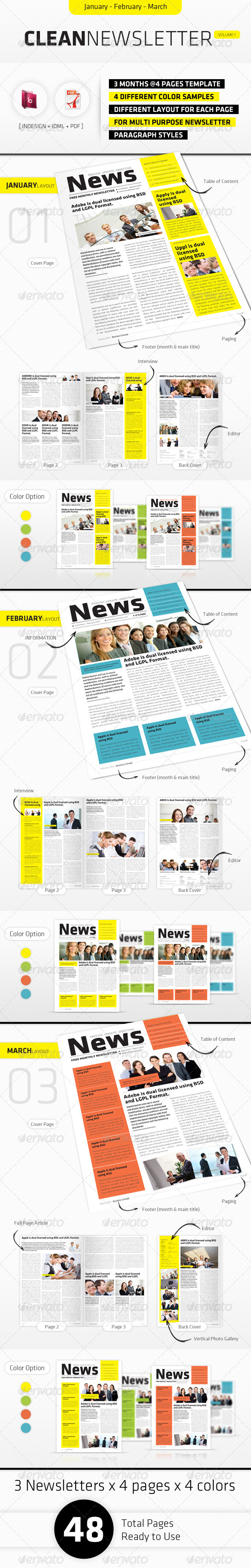 January - March Clean Newsletter V1 - Newsletters Print Templates