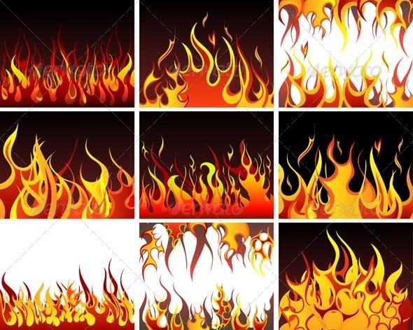 GraphicRiver Fire Background Set 3451804