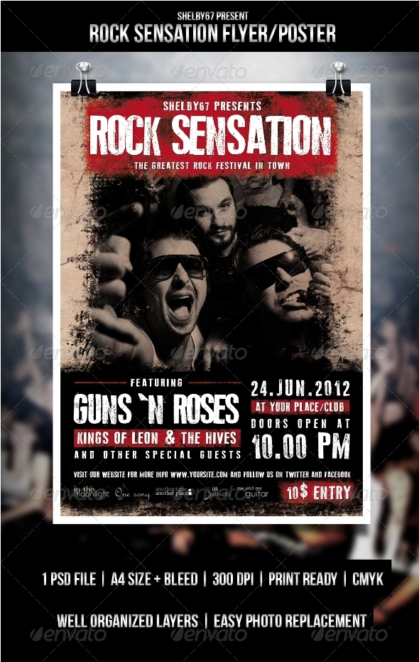 GraphicRiver Rock Sensation Flyer Poster 3453457