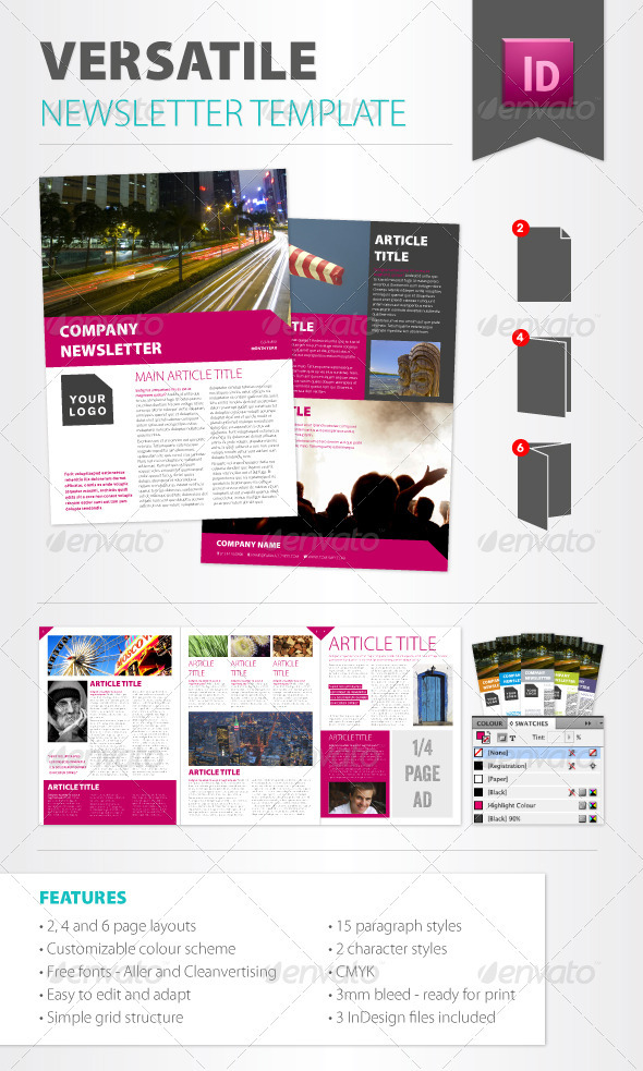 Versatile Newsletter Template - Newsletters Print Templates