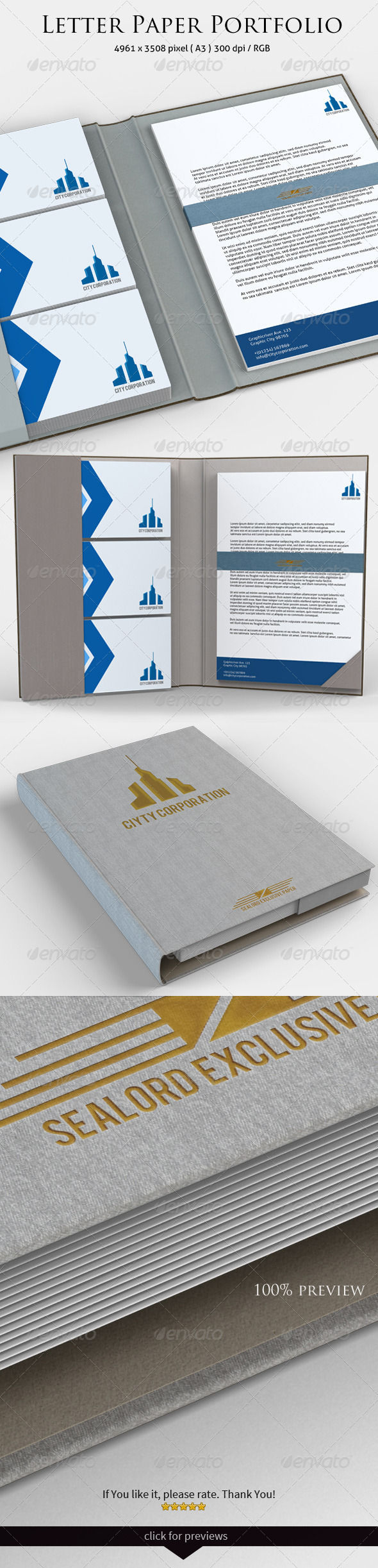 GraphicRiver Letter Paper Portfolio Mock-up 3454211