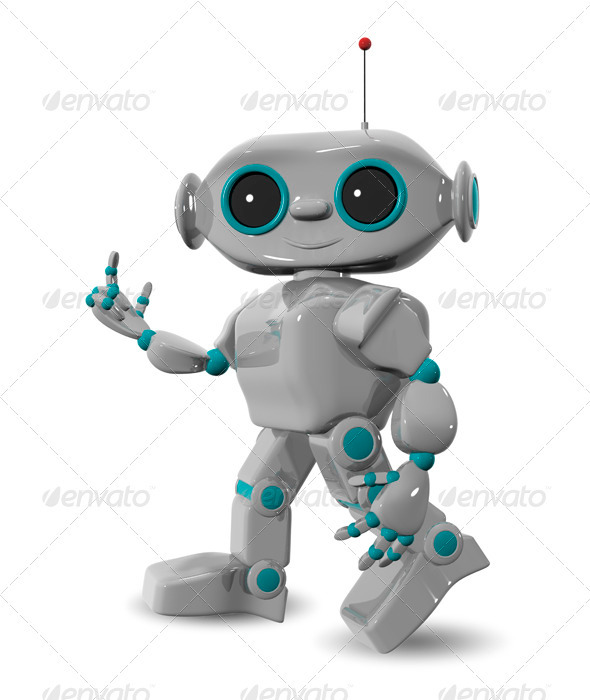 Walking Cheerful Robot - 3D Backgrounds