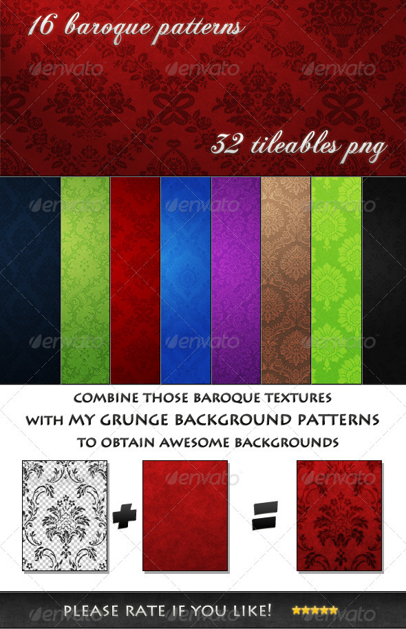 GraphicRiver 8 Tileable Baroques Backgrounds Textures & Pattern 3377718