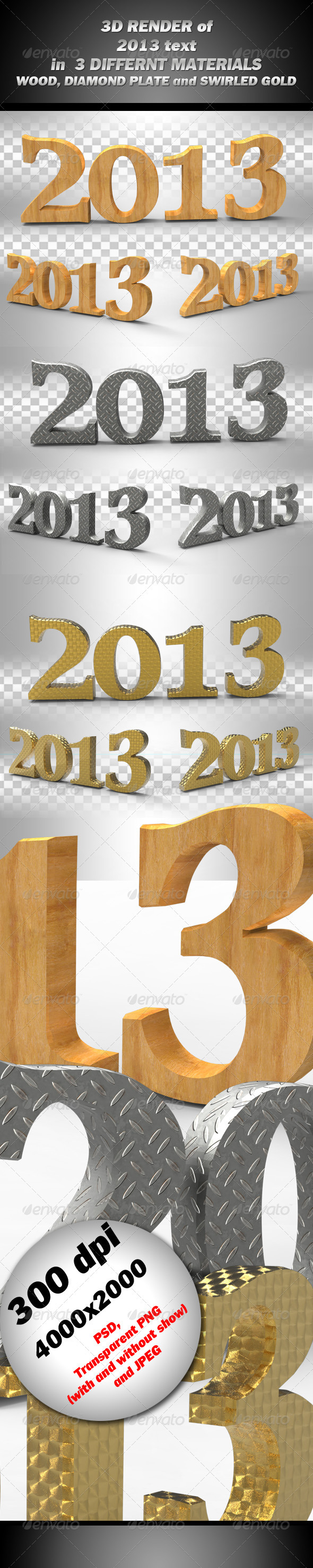 2013 3d render in 3 materials - 3D Backgrounds