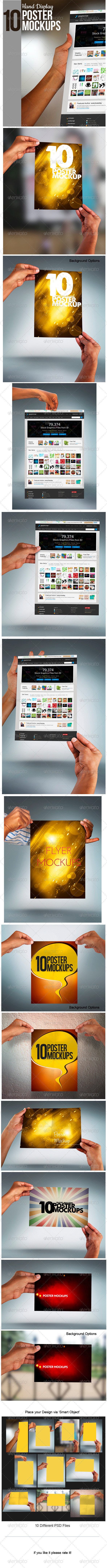 GraphicRiver Hand Display Poster Mockup 3454878