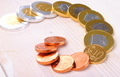 euro coins made of chocolate on a wooden table - PhotoDune Item for Sale