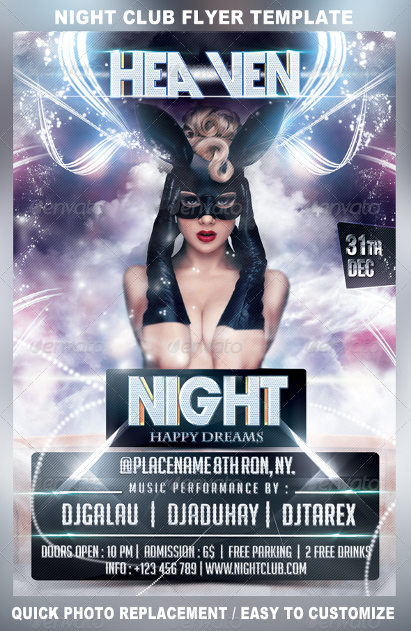 GraphicRiver Heaven Night Party Flyer Template 3454933