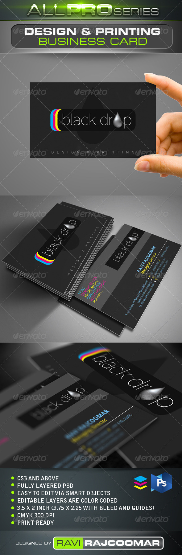 GraphicRiver Black Drop Business Card 3113302