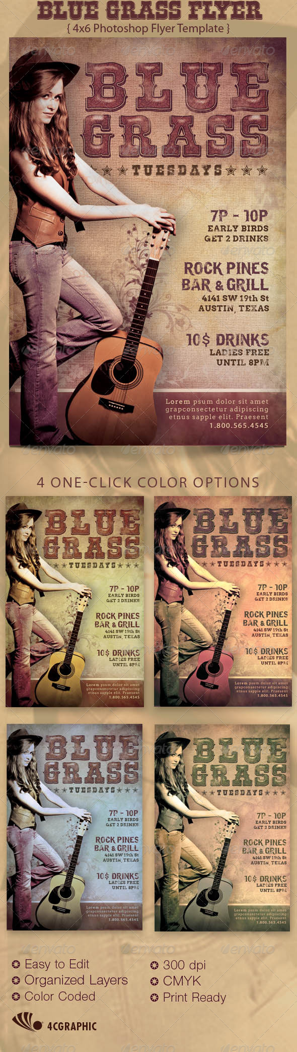 GraphicRiver Blue Grass Country Flyer Template 3455751
