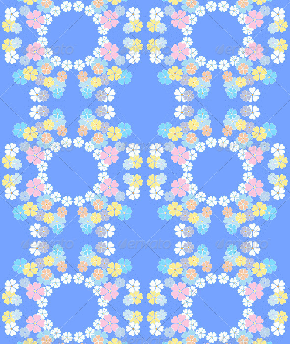 GraphicRiver Gentle Flowers on the Blue Seamless Background 3331539
