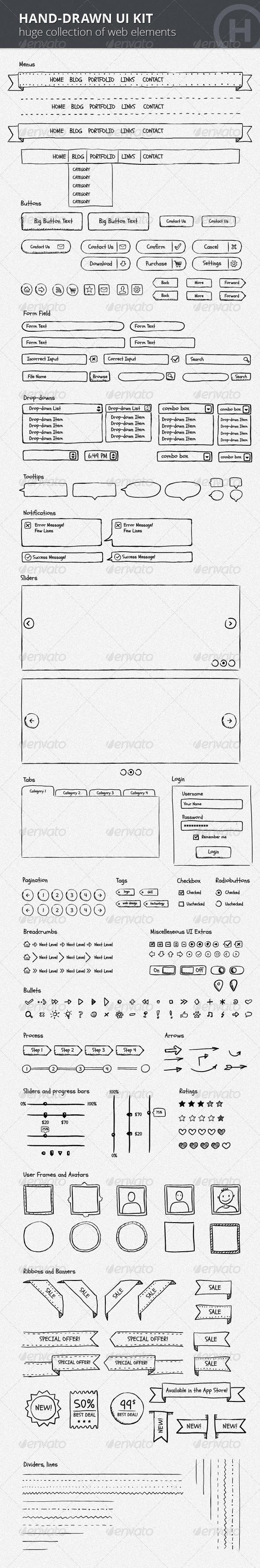 Hand-Drawn UI Kit - User Interfaces Web Elements