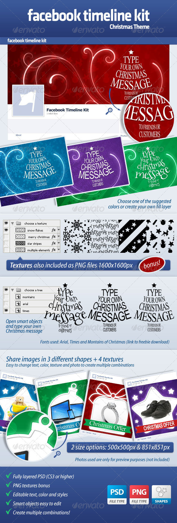GraphicRiver FB Timeline Kit Christmas Theme 3456235