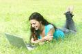 Beautiful Girl Using Computer Outdoor  - PhotoDune Item for Sale