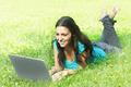Attractive Student Using Laptop Outdoor  - PhotoDune Item for Sale