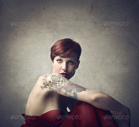 Tattooed Woman - Stock Photo - Images