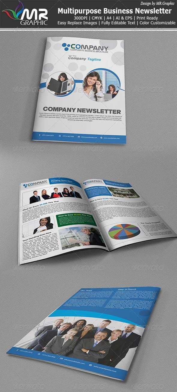 Multipurpose Business Newsletter - Newsletters Print Templates