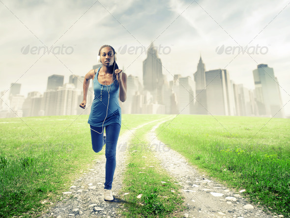 Black Girl Jogging - Stock Photo - Images