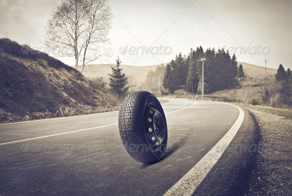 Wheel on the Road - Stock Photo - Images