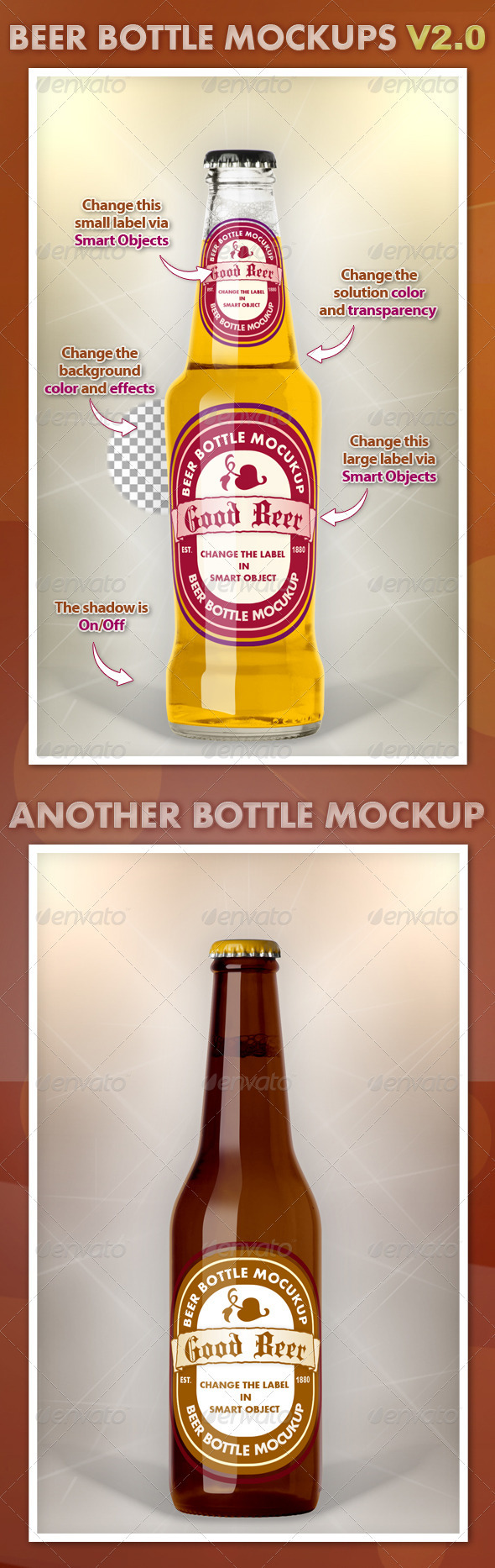 GraphicRiver Beer Bottle Mockups V2.0 3457210