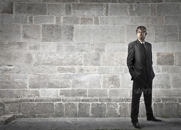 Standing Businessman - Stock Photo - Images