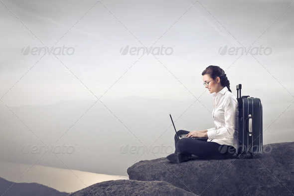 Businesswoman on the Go - Stock Photo - Images
