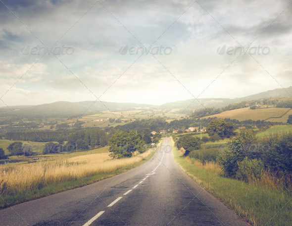 Long Country Road - Stock Photo - Images