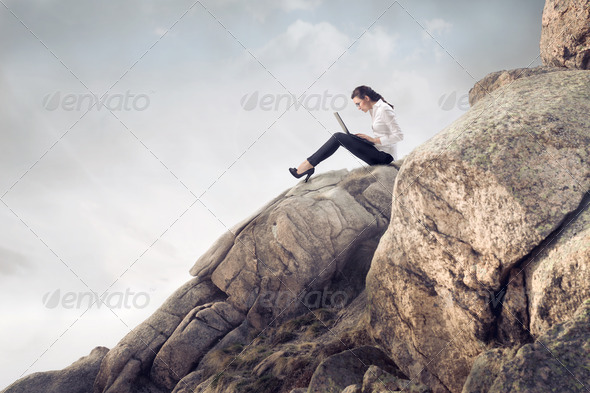 Working on the Cliff - Stock Photo - Images