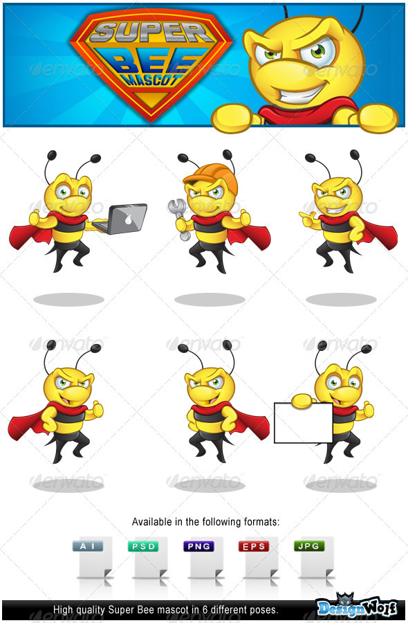 GraphicRiver Superhero Bee Mascot 3457650