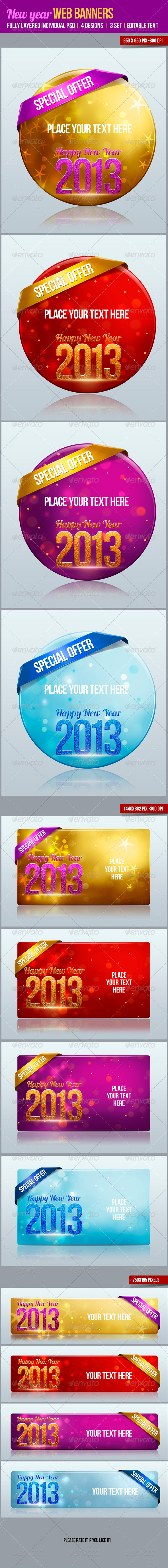 GraphicRiver New Year Web Banners 3458646