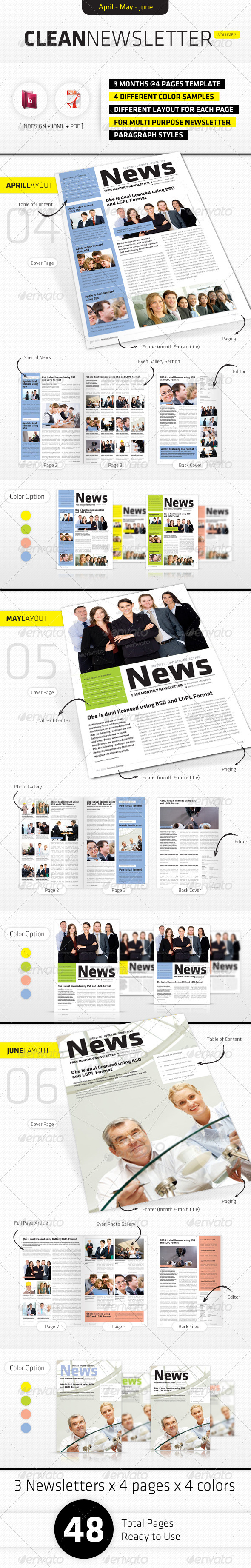 April - June Clean Newsletter V2 - Newsletters Print Templates