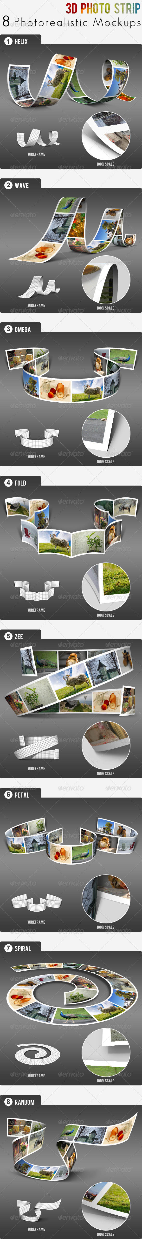 3D Photo Strip - Photorealistic Mockups - Miscellaneous Product Mock-Ups