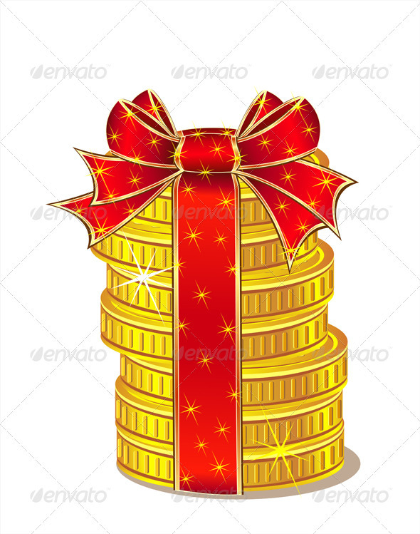 GraphicRiver Stack of Gold Coins with Ribbon and Bow 3459063