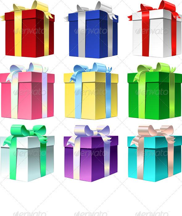 Vector Set Varicolored Gift Box with Ribbon Bow - Seasons/Holidays Conceptual