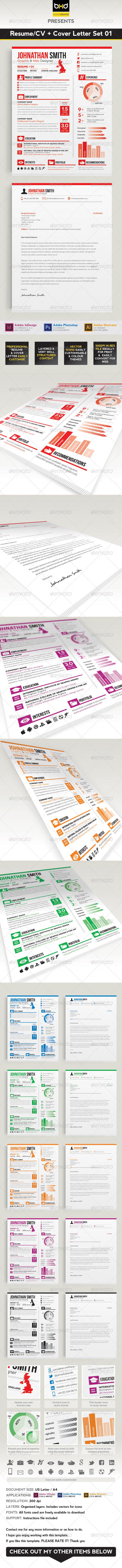 GraphicRiver Resume CV & Cover Letter Set 01 3435266