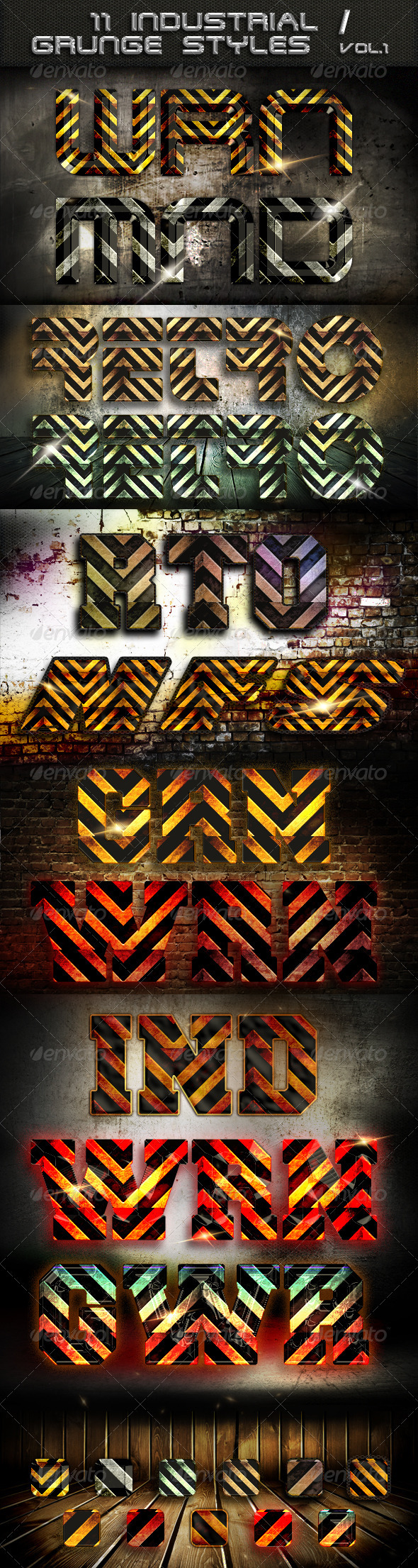 11 Industrial / Grunge  Styles - Text Effects Styles
