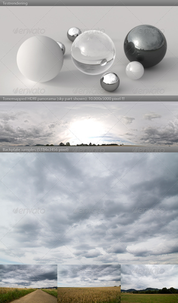 3DOcean HDRI spherical sky panorama 1808- heavy clouds 506851