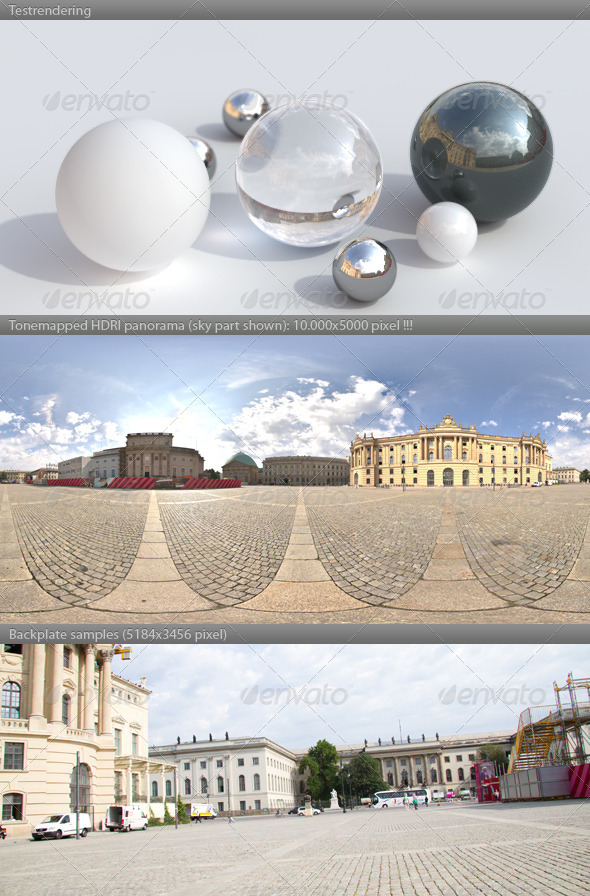 HDRI spherical panorama -0919- plaza sunny sky - 3DOcean Item for Sale