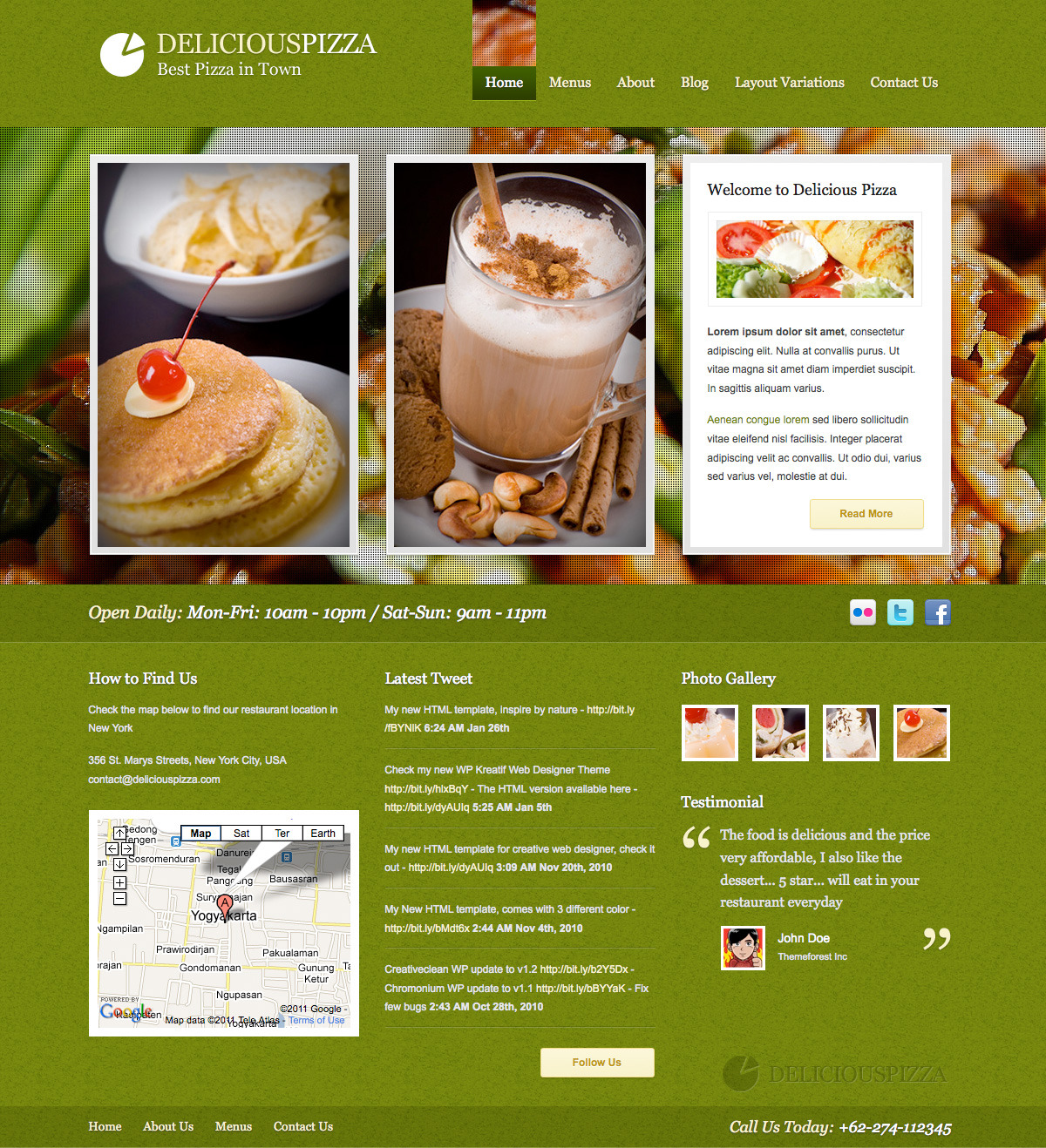Delicious Restaurant Wordpress - Homepage - Green Color