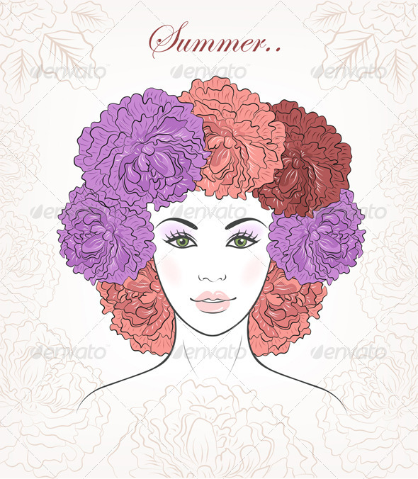 GraphicRiver Romantic Girl With Floral Peonies Hair 3461401