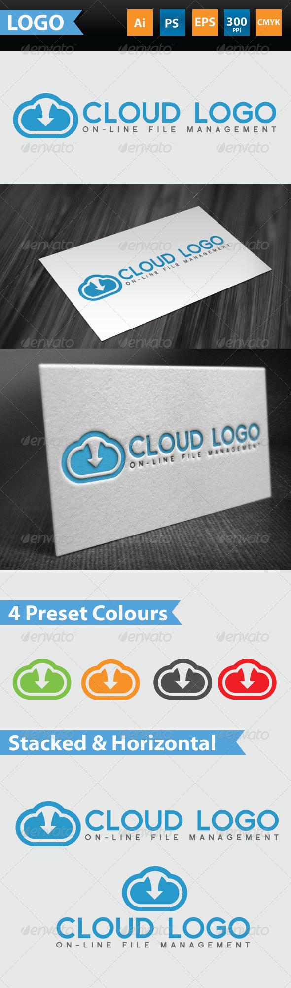 GraphicRiver Cloud logo on-line file management 3462201