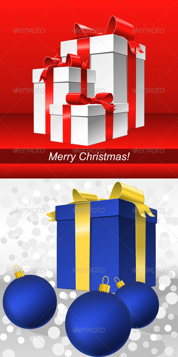 Vector Set Red and Blue Christmas Backgrounds with Gifts - Christmas Seasons/Holidays