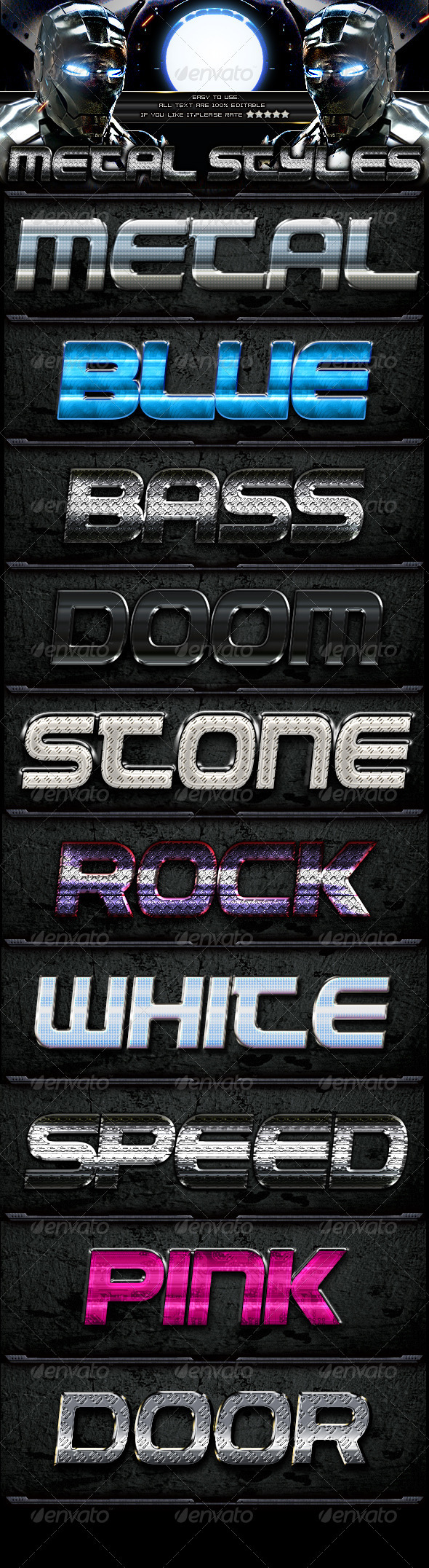 10 Metal Styles - Text Effects Styles